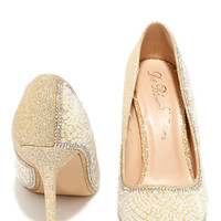 Luxe-y Charm Nude and Gold Pearl Rhinestone Pumps