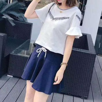 Women's Leisure  Fashion Letter  Printing Short Sleeve Ruffle Sleeve Elastic Short Skirt Two-Piece Casual Wear