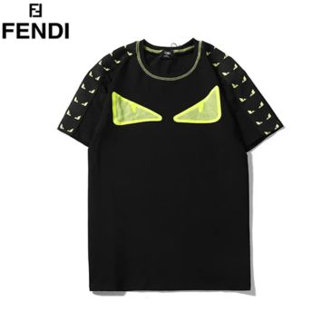 Fendi Summer New Fashion Eye Print String Mark Women Men Top T-Shirt Black