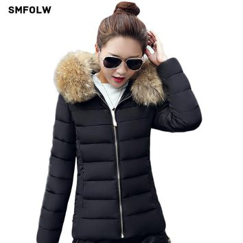 Winter Jacket Women 2017 new winter warm down jacket women short paragraph Slim Fur collar large yards women's cotton jacket