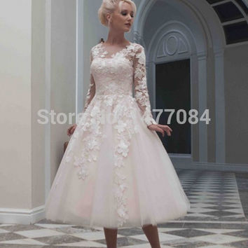 Latest Style V-Neck Long Lace Sleeve Mid-Caif Length Vintage Short Lace Wedding Dresses 2015