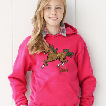 Custom Horse Riding Equestrian PERSONALIZED Girls Hooded Hoodie Sweatshirt  Name Initials - Any Color!