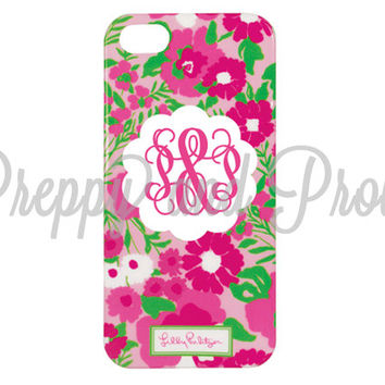 Lilly Pulitzer Inspired Iphone 5-5s Case Custom With Monogram|LIMITED Quantities|Garden by the Sea Print