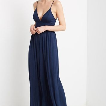Navy Back Cutout Jumpsuit