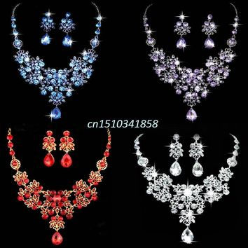 New Bridal Wedding Party Crystal Rhinestone Pendant Necklace & Earrings Jewelry Sets