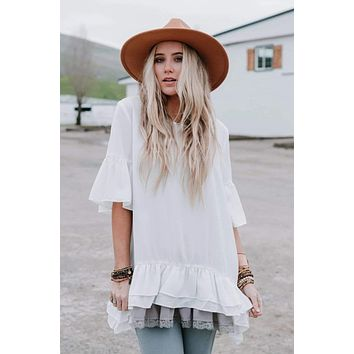 Far To Fall Top - Ivory