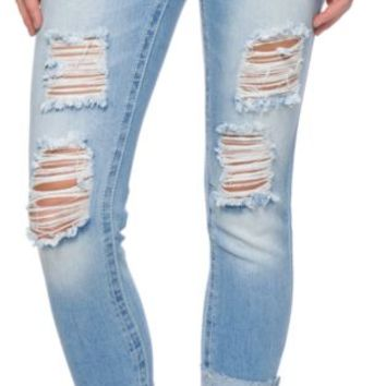 Almost Famous Destroyed Medium Wash Skinny Jeans