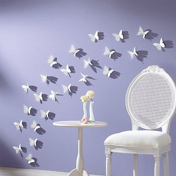 3D Wall Sticker Butterflies Home Decor Room Decorations Stickers 24 pcs