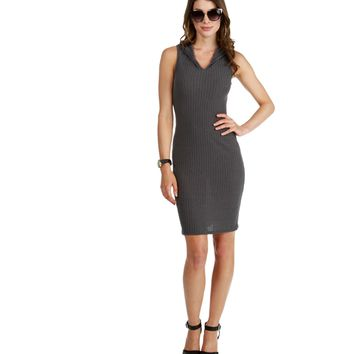 Promo- Charcoal Hooded Midi Dress