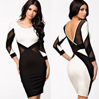 2015 New fashion Women Sexy Club Dres Mini BodyconParty Bandage Dresses Long Sleeves Bodysuit lace patchwork backless Dress