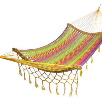 Thick Cord Mayan Multi Color Cotton Hammock With Tassels and Curved Spreader Bars