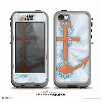The Vintage Blue Striped & Chained Anchor Skin for the iPhone 5c nüüd LifeProof Case