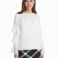 White House Black Market Ruffle Sleeve Blouse