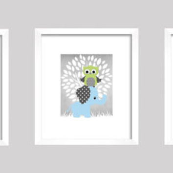 Gray Blue Green White Enchanted Forest with Owl and Elephant, CUSTOMIZE YOUR COLORS 8x10 Prints, set of 3, nursery decor art baby room decor