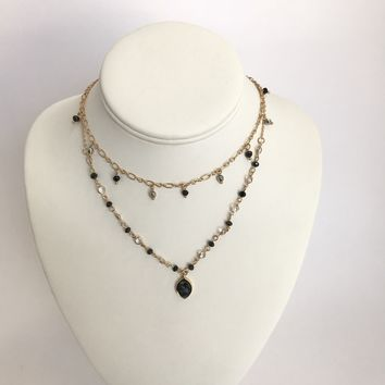Keep It Classy Black Layered Necklace in Gold