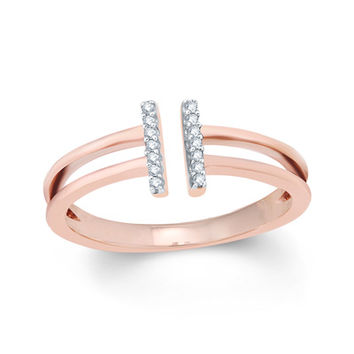 Lab-Created White Sapphire Open Double Bar Ring in Sterling Silver with 14K Rose Gold Plate