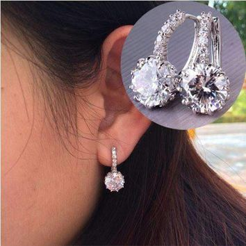 Exotic Gems CZ Solitaire Hoop Earrings
