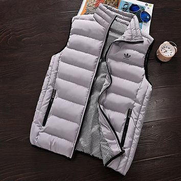 Adidas Women Men Fashion Edgy Sleeveless Cardigan Jacket Coat Windbreaker