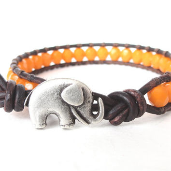 Elephant wrap bracelet hipster style summer by MirasBeadBoutique