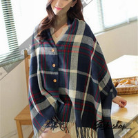 Wool Blend Dark Blue Plaid Shawl Lady Scarf Blanket Oversized Plaid Check Tartan England Wrap Cape Stole = 1837908036