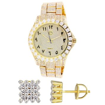 Men's Arabic Dial Gold Finish Iced Out Watch Square Silver Earrings Combo