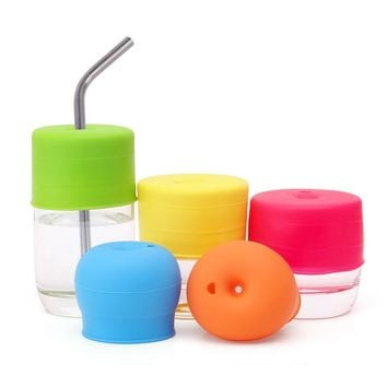 Silicone Cup Cover Glassware Lid Spill-Proof Sippy Cups Straw Lids Kitchen Supplies copo Accessories For Baby Toddlers And Kids