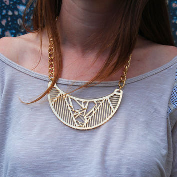 Gold Metallic TUESDAY TWIN SISTER Bib Pendant Necklace on Gold Colored Chain