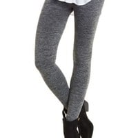 Charcoal Heather Marled Fleece-Lined Leggings by Charlotte Russe
