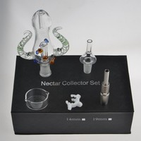 Colourful Nectar Collector Kit 4.0 Ox Horn Shape With Individual Packing Both 14mm Quartz Tip & GR2 Titanium Tip Dish Ash Catcher bongs