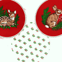 """Vintage Unique 5"""" Precut Quilt Circles 8 Different Christmas Woodland Animals & 8 Holiday Print One-of-a-Kind Quilting Crafts Supplies"""