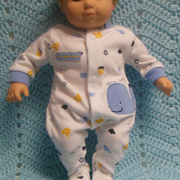 """American Girl Bitty Baby clothes Bitty Twins Boy """"I'm a Great Catch"""" (15 inch)  Sleeper  footie pajamas whales boats sea animals blue"""