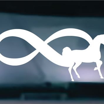 Set of (2) TWO  Infinity Horse Decal Sticker Vehicle Car Truck Window Wall Laptop Wall