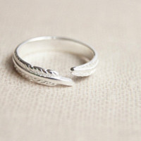 925 Sterling Silver leaf ring,adjustable silver leaf ring,silver feather ring