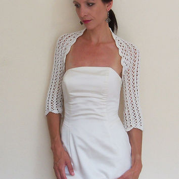 BRIDAL BOLERO WEDDING shrug entirely handmade from 100% cotton yarn