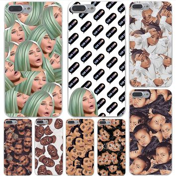 Kim Kardashian Funny Face Hard Transparent Cover Case for iPhone 8 8 plus 7 7 Plus X (10) 6 6s Plus 5 5S SE 5c 4 4S