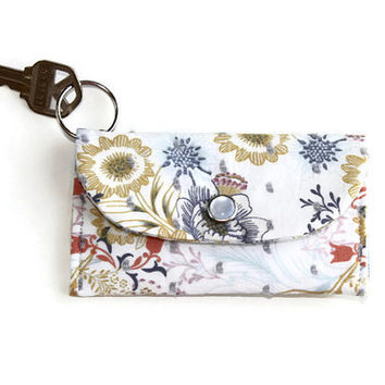Flowered White Keychain Wallet and Coin Purse, Student ID Holder, Keychain Cardholder, Dorm Key Ring Wallet, Free Shipping