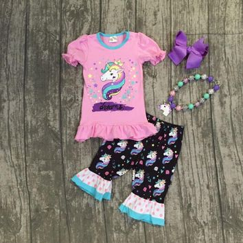 2018 new arrivals Summer outfit black pink unicorn capris set pink dot rufflw boutique baby kids wear with matching accessories
