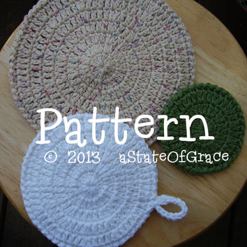 PATTERN - Double Sided Cleaning Sponge / Bath Sponge / Pot Holder / Hot Pad / Dishcloth / Washcloth / Facial Scrubbie - 5 sizes