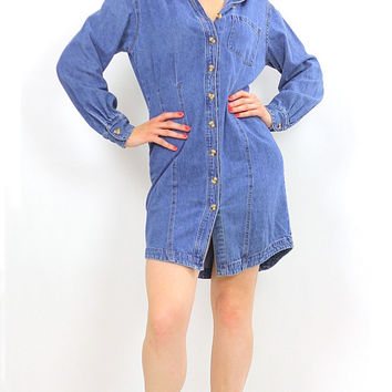 Vintage 90s Grunge Bill Blass Blue denim mini  dress
