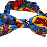 Boys blue tie - super hero bowtie - neckwear for boys - little man fashion fall fashion accessories - geeky nerdy wear - photo props costume