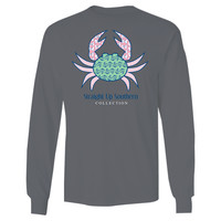 Itsa girl Thing Southern Collection Prep Crab Anchor Bow Bright Long Sleeves T Shirt