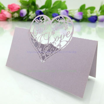 Wedding Supplies 100pcs/pack Pierced Laser Cut Love Heart Wedding Party Table Name Place Cards Wedding Invitations 5Z-CD036