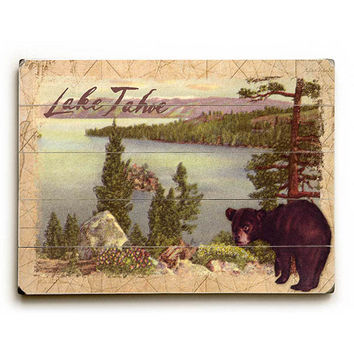 Personalized Lake Tahoe by Artist Kate Ward Thacker Wood Sign