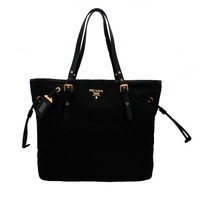 Prada BR4997 Nero Black Tessuto & Saffian Shopping Tote Bag