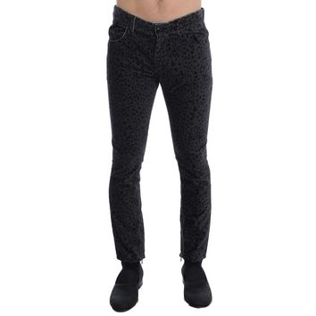 Costume National Gray Blue Leopard Slim Fit Pants Jeans