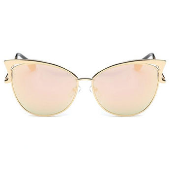 Retro Sunglasses Rose Pink Mirror Cat Eye with Gold Accents : Protects Against Harmful Sun Radiation, 90's Vintage Fashion