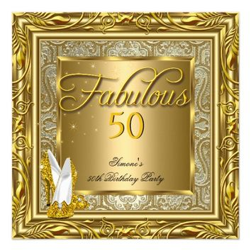 Fabulous 50 Gold Damask High Heels Birthday Party