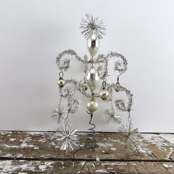 Tinsel Tree Topper Aluminum Tree Topper Mercury Glass Tree Topper Ornament Christmas Tree Holiday Decor