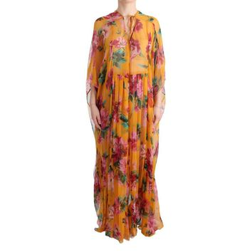 Dolce & Gabbana Multicolor Silk Floral Print Long Maxi Dress