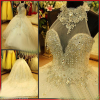 YZ Luxury Crystal Bright Diamond Sexy Fancy Wedding Dress VIVF